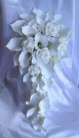 ARTIFICIAL FLOWERS WHITE CALLA LILY ROSE WEDDING SHOWER TEARDROP BRIDE BOUQUET